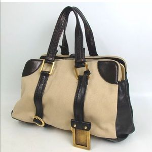 Chloe Boston canvas and leather bag